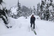 Ski touring enroute to Iago, Coquihalla Summit Recreation area.