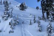 Getting faceshots off the backside of Second Peak, Mount Seymour powder skiing